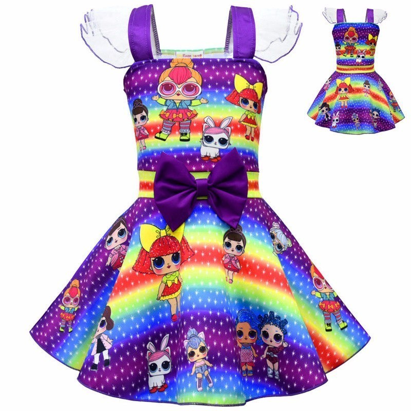 Girls Lolita Wedding Party Dress Christmas Cute Doll Cosplay Summer Bow Dress Kids Birthday Gift Surprise Princess Skirt Costume