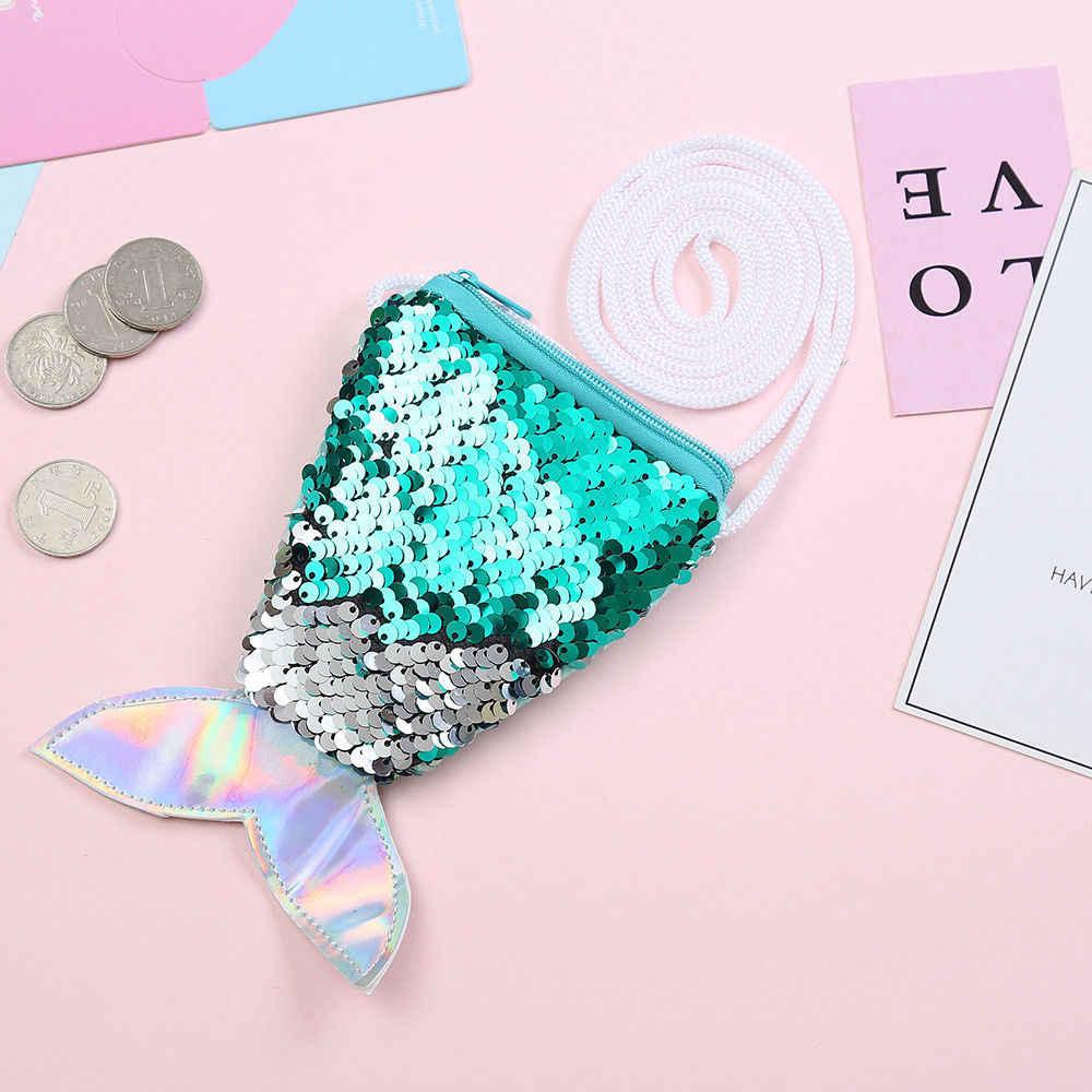 Gadis Anak Anak Putri Duyung Ekor Tas Selempang Dompet Koin Dompet Kartu Zipper Pemegang Penyimpanan Biru Hijau Pink Ungu Merah
