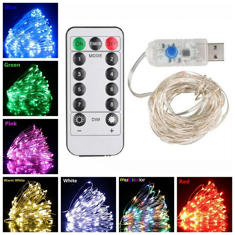 8 Mode Remote Control Dimmable USB Powered 5M 10M 20M LED Silver Copper Wire String Lights Decor Christmas Fairy Garlands Light
