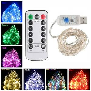 String-Lights Remote-Control Dimmable Silver Decor Copper-Wire Christmas-Fairy 10M LED