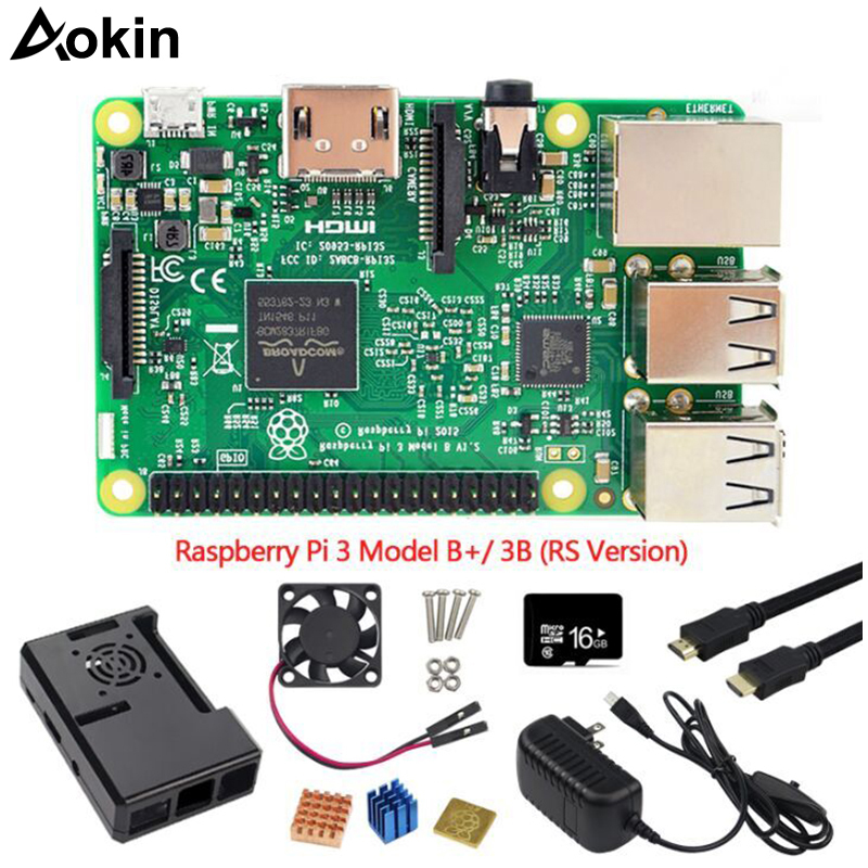 Aokin 7 pièces Kit Combo Raspberry Pi 3 modèle B +/3b carte mère, 16 gb carte Microsd 5 V 2.5A adaptateur, dissipateurs, boîtier noir câble Hdmi