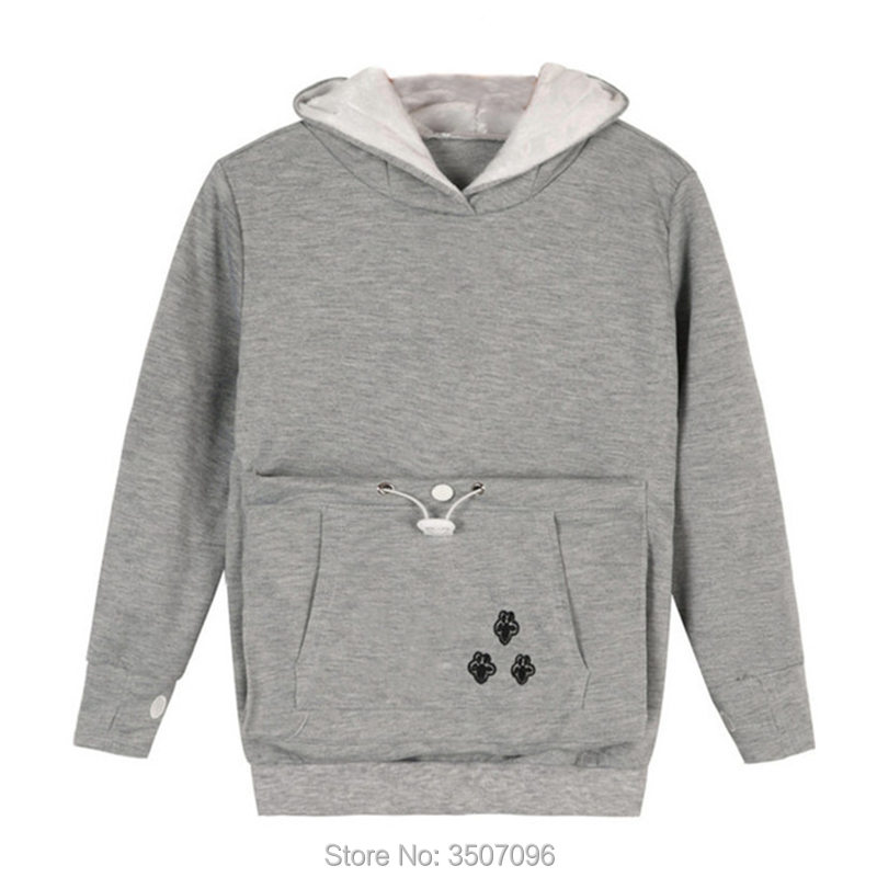 Kids Lovely Hoodie With Big Pouch For Pet Dog Kangaroo Hoody Sweatshirt Cat Ears Kawaii Tops Family Matching Costume 2018
