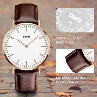 Montre Homme CIVO Watch Top Brand Luxury Waterproof Quartz Wristwatch Simple Classic Design Genuine Leather Analogue Thin Watch