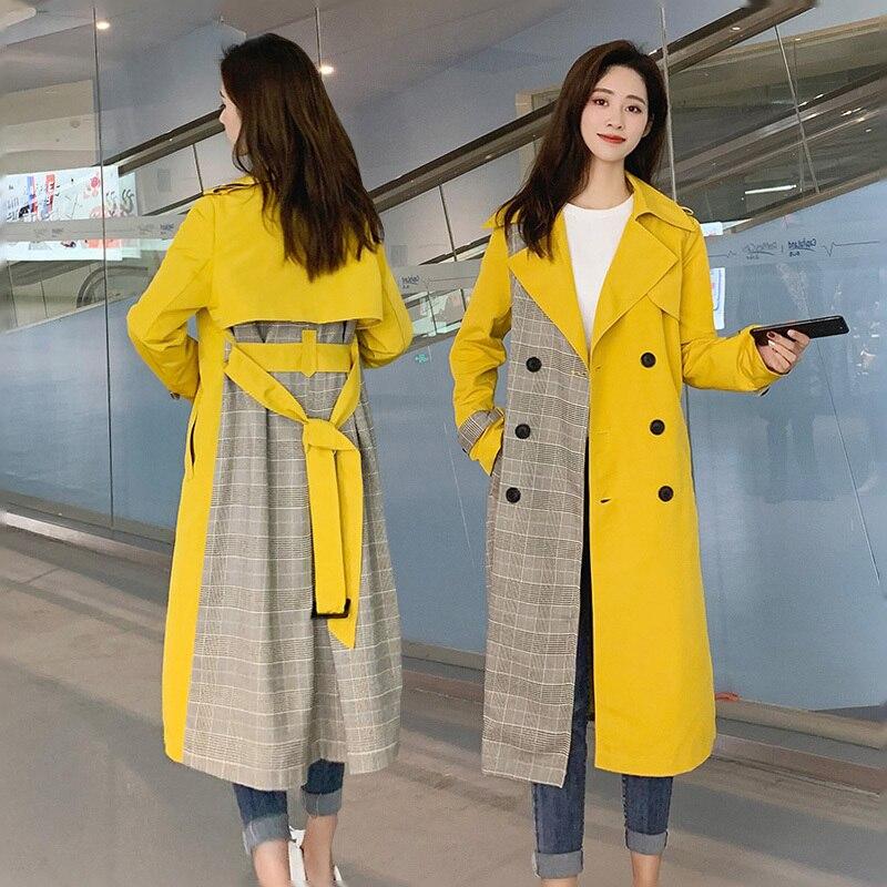 Double 2019 Patchwork Veste Overknee Rayé vent Coréenne Coupe Longue yellow Nouveau Printemps Orange Mode Femmes Ceinturons E248 Boutonnage SqxSPFw