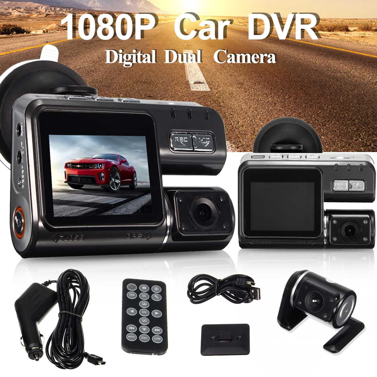 Full HD 1080 P voiture véhicule DVR caméra Dash Cam enregistrement vidéo G capteur double lentille Dvr caméras et caméra de recul