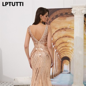 Image 5 - LPTUTTI Sequin Beading Crystal New For Women Elegant Date Ceremony Party Prom Gown Formal Gala Luxury Long Evening Dresses 14