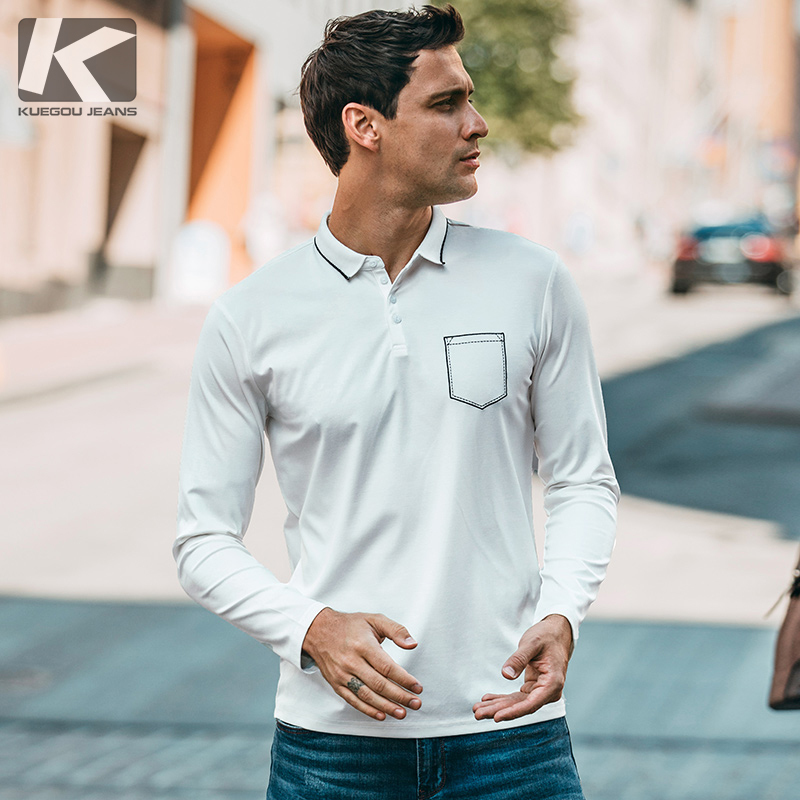 379221e50fa91 Autumn Men Polo Shirt Patchwork Pocket White Black Color For Man Fashion  Long Sleeve Slim Clothing 2018 New Male Wear Tops 542