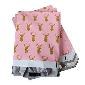 Image 3 - Schnelle Mailer 100PCS 260x330mm 10x13/zoll Gedruckt Weihnachten Hirsch Muster Poly Mailer Selbst abdichtung Kunststoff Umschlag Taschen