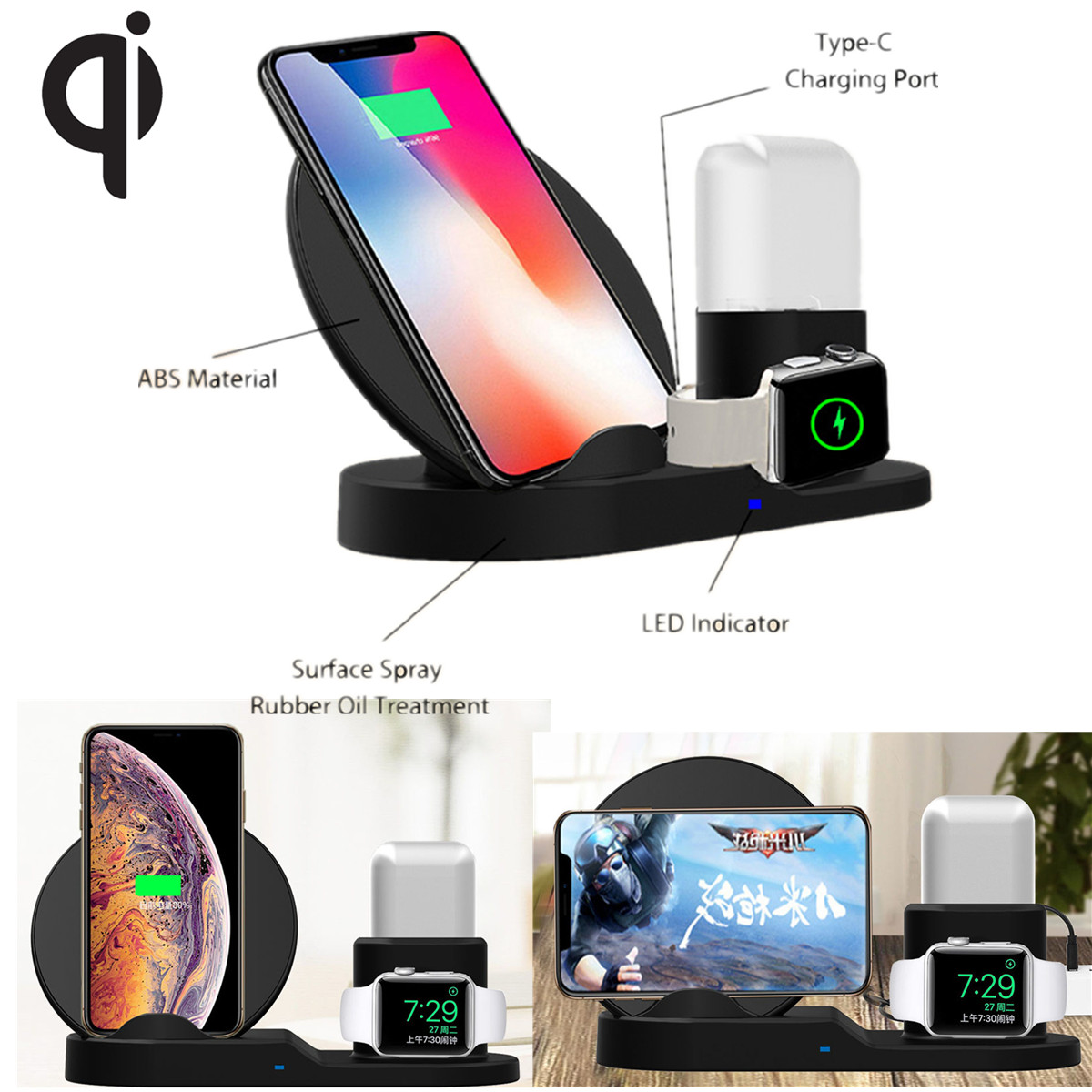 7 5W QI Fast Wireless Charger 3 in 1 For iphone 8 Plus X For AirPods