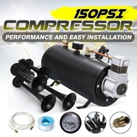 Black 150PSI Air Compressor 3 Liters and Pressure Switch Hose Kits Train Truck Trailer 12V with 4 Trumpet Train Air Horn