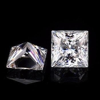 2.5*2.5mm Princess Cut White Moissanite Stone Loose Moissanite Diamond 0.11 carat for Ring transgems 14k white gold 1 4ctw 0 7ct 5mm f color princess cut moissanite engagement ring with 2 5mm princess cut side stone