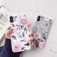 Moskado Fashion Soft TPU Case For iPhone 7 8 Plus XS Max Back Cover 6 6S X XR Creative Vintage Flower Phone