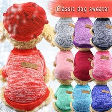 Classic Pure Color Dog Clothes For Small Dogs Winter French Bulldog Fleece Sweater Chihuahua Dachshund Jumpers Puppy Pet