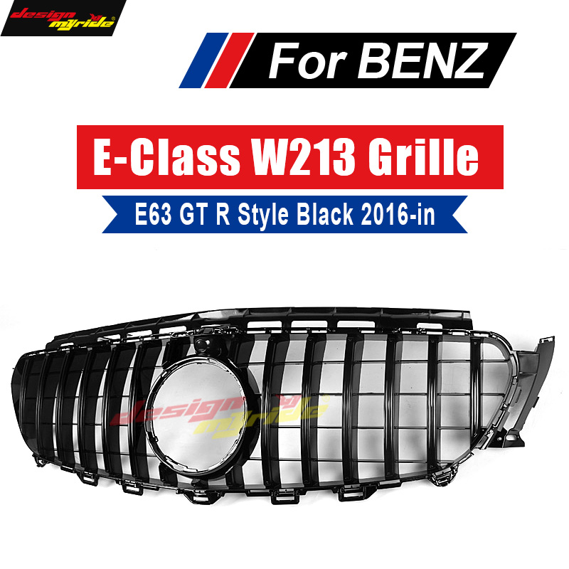 W213 GT R Style grille grille ABS gloss black With Camera For Mercedes Benz E class E200 E250 E300 E350 E63 look grills 2016-18 image