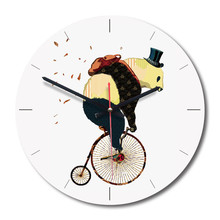 New 3D Wall Clock Brief Cartoon Bear Ride A Bike For Living Room 28cm Acrylic Nordic Quartz Watch Home Decor