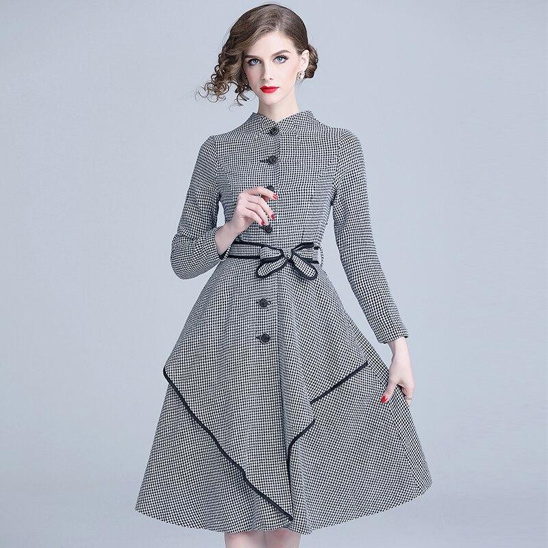 À Pardessus Robes Jupe Femmes Manteau Poule Automne Mode Longues Hiver Longue Case Outfit Avec Manches Ceinture Européenne Conception Plover Robe WEH29IYD