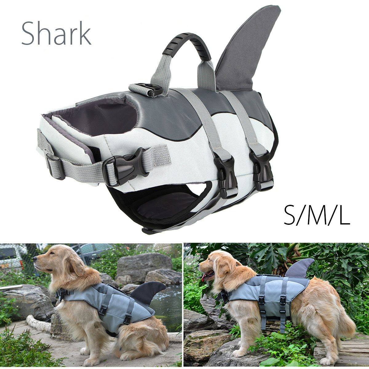 NEW Float Dog Life Jacket Shark Pet Swimming Life Jacket Vest Swimwear Safety Clothes For Small Large Dogs Swimwear S M L