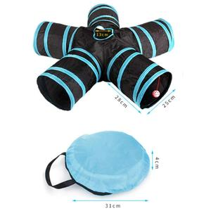 Image 5 - Practical Cat Tunnel 5 Way Foldable Pet Toy Tunnel  Rabbit Cat and Dog Game Pipe Black blue