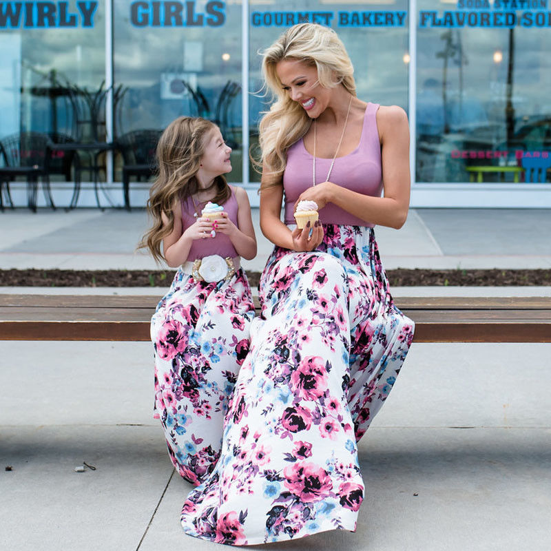 Family Matching Sets Summer Sweet Mother Daughter Dress Sleeveless Striped Floral Patchwork High Waist Ankle-Length Dress telle mère telle fille vetement