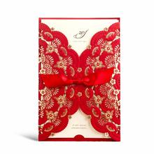 1Pcs Chinese Red & Gold Foil Laser Cut Lace Wedding Invitations Card Lot, Blank Birthday Party Favors Customized with Envelopes