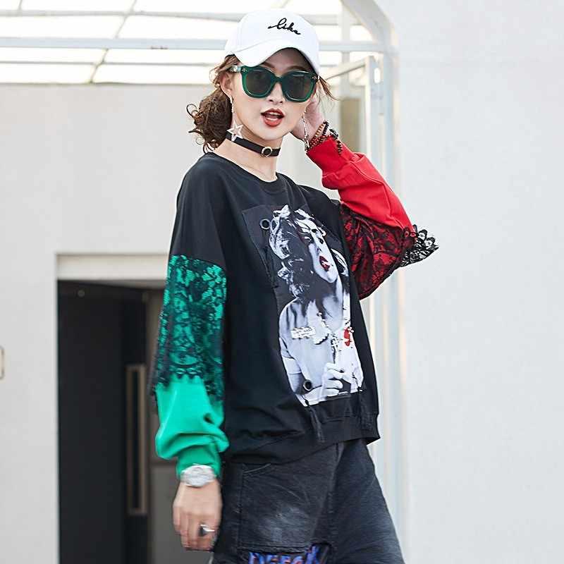 0e56dc7f63cc ... Max LuLu 2019 Luxury Korean Style Girls Lace Crop Tops Tee Shirts Womens  Oversized T- ...