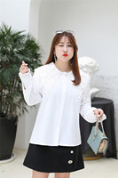 MINSUNDA Plus Size Round Neck Lace Shoulder Top Women Frill Cuff Long Sleeve Blouse Female White Shirt Ladies Elegant Blouses