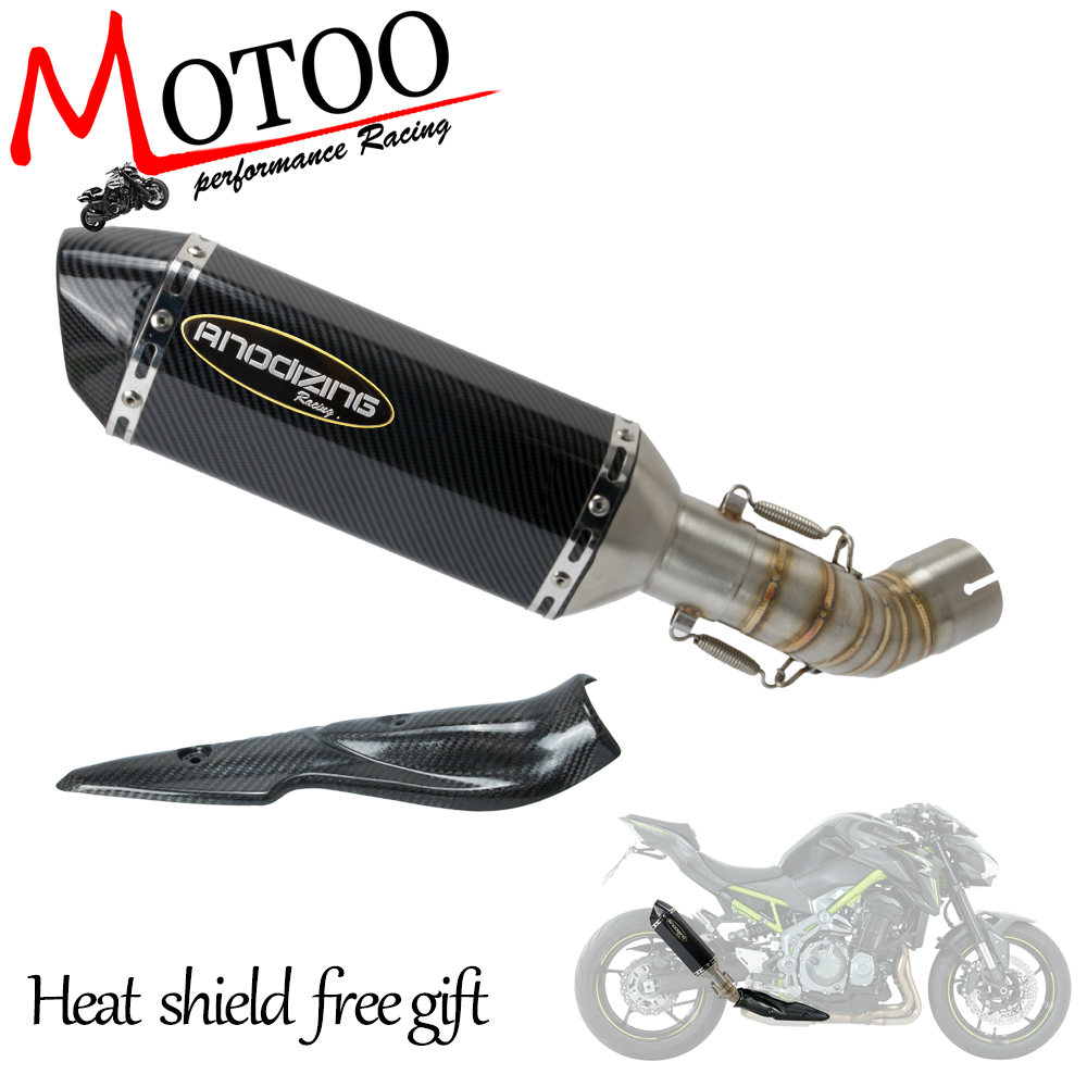Motorcycle Slip On Muffler Exhaust System Middle Pipe Slip-On & Carbon Fiber Heat Shield Guard For Kawasaki Z900 Z 900 17 18