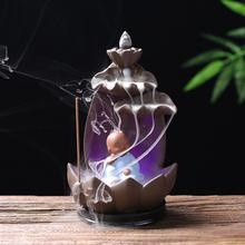 Ceramic Backflow Incense Burner Lotus Portable Stick Holder Aromatherapy Censer Environment