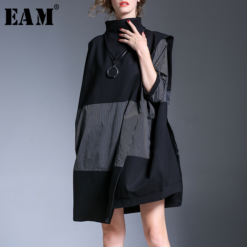 [EAM] 2019 New Spring  High Collar Long Sleeve Hit Color Striped Split Joint Loose Big Size Dress Women Fashion Tide JH055-in Dresses from Women's Clothing    1