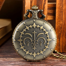 Classic Quartz Pocket Watch for Men Bronze Full Hunter Watches for Women Alloy Pendant Necklace Watch Link Chain for Friends(China)