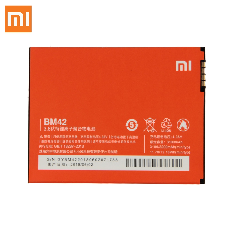XaioMi Original BM42 Battery For Xiaomi Redmi note 1 Redrice note1 Phone Replacement 100% New Authentic 3200mAh