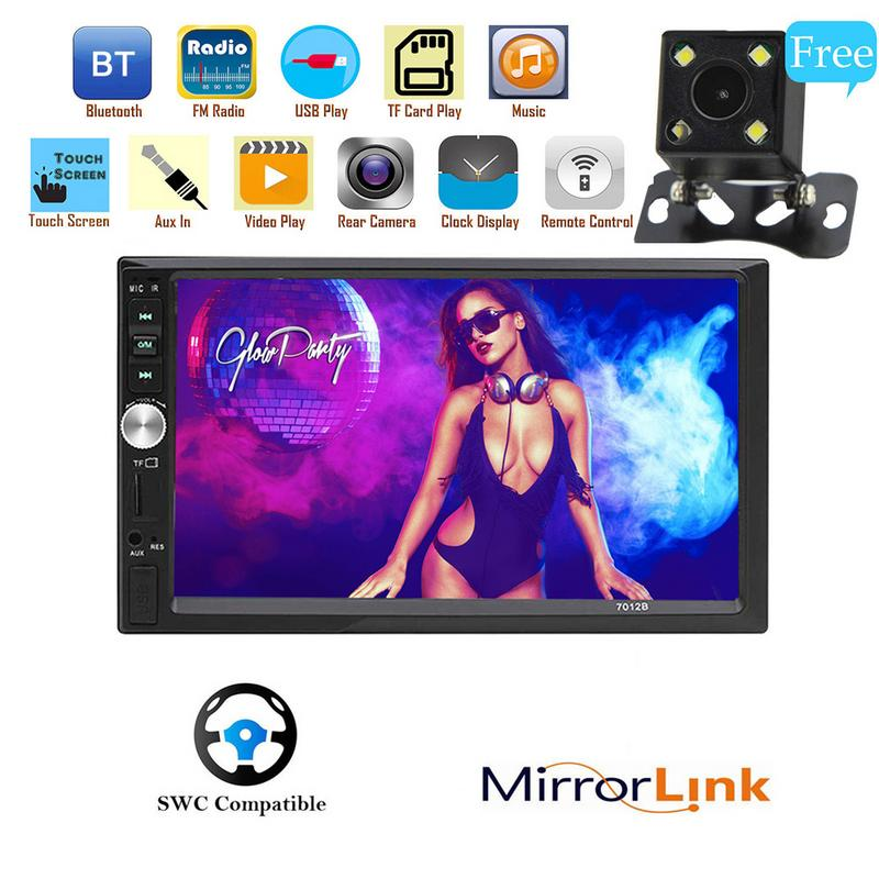 7 Double 2 DIN Car MP5 MP3 Player Bluetooth Touch Screen Stereo Radio Camera Inch Din HD