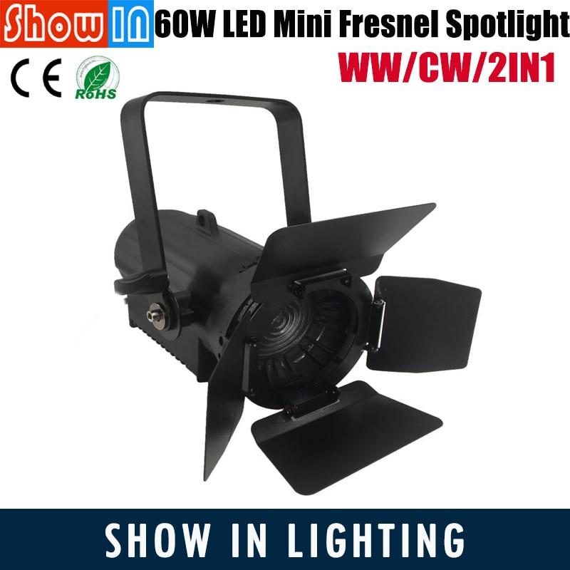 60W Mini LED Fresnel Spotlight CW WW 2IN1 RA90 Die Casting Aluminum DMX512 DJ Disco Party Music Meeting Stage DJ Lighting Effect