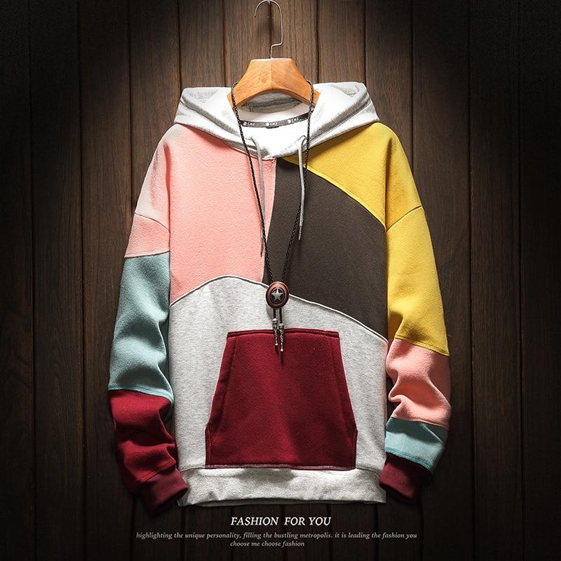 fashion mens hoodies Sweatshirts Hot Sale men fleece loose Patchwork chic mens wear hoodies  Jumper Outwear tracksuit Hoodies & Sweatshirts     - title=