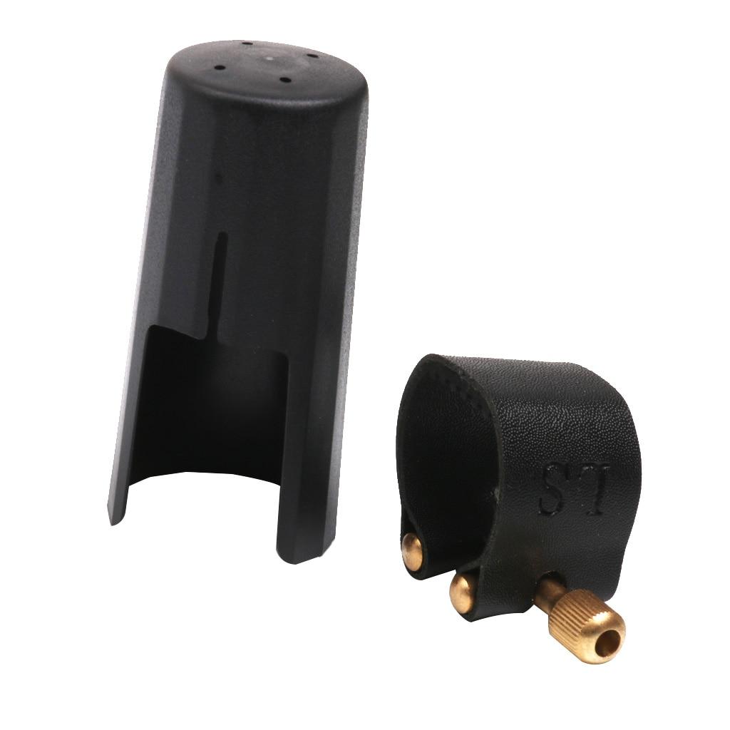 Leather Ligature Fastener With Plastic Cap For ALTO SAX Saxphone Mouthpiece Black Parts & Accessories Saxophone Mouthpiece