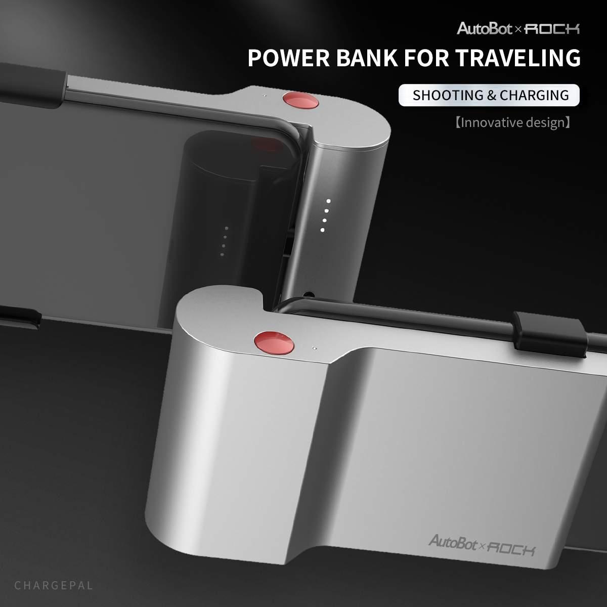ROCK 5000 mAh Type C charge rapide Clip arrière batterie externe avec sans fil Bluetooth tirer Photo support pour téléphone pour Xiaomi pour Samsung
