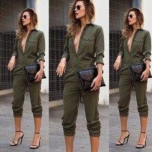 Сексуальный женский модный тонкий облегающий комбинезон с длинным рукавом армейский зеленый однотонный Повседневный боди дамское винтажное боди-трико длинный комбинезон