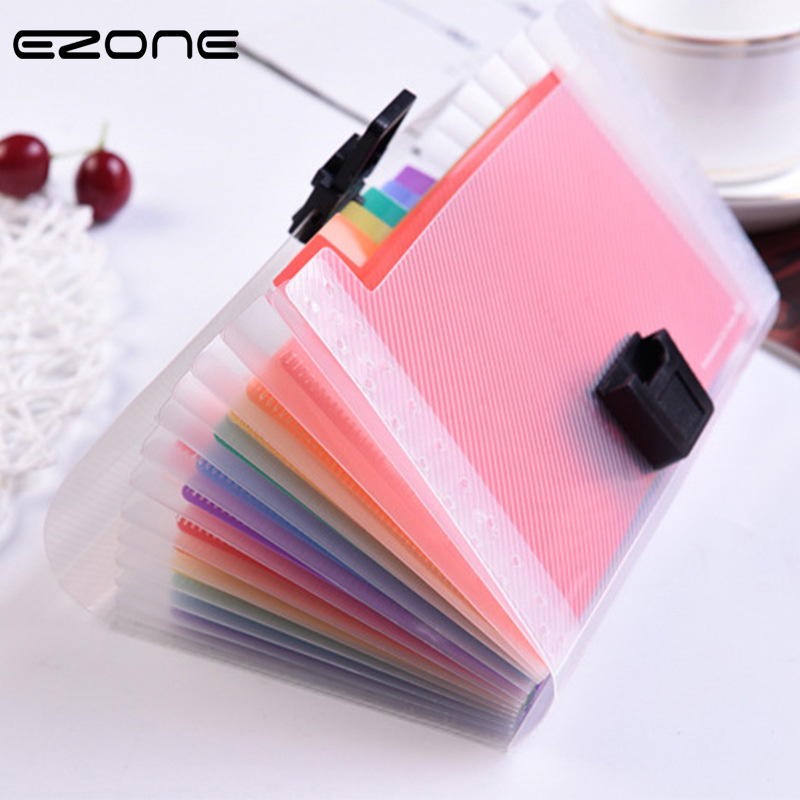 EZONE Rainbow Color A6 Document Bag Cute Mini Bill Receipt File Bag 13 Grids Pouch Folder Organizer File Holder Office Supply