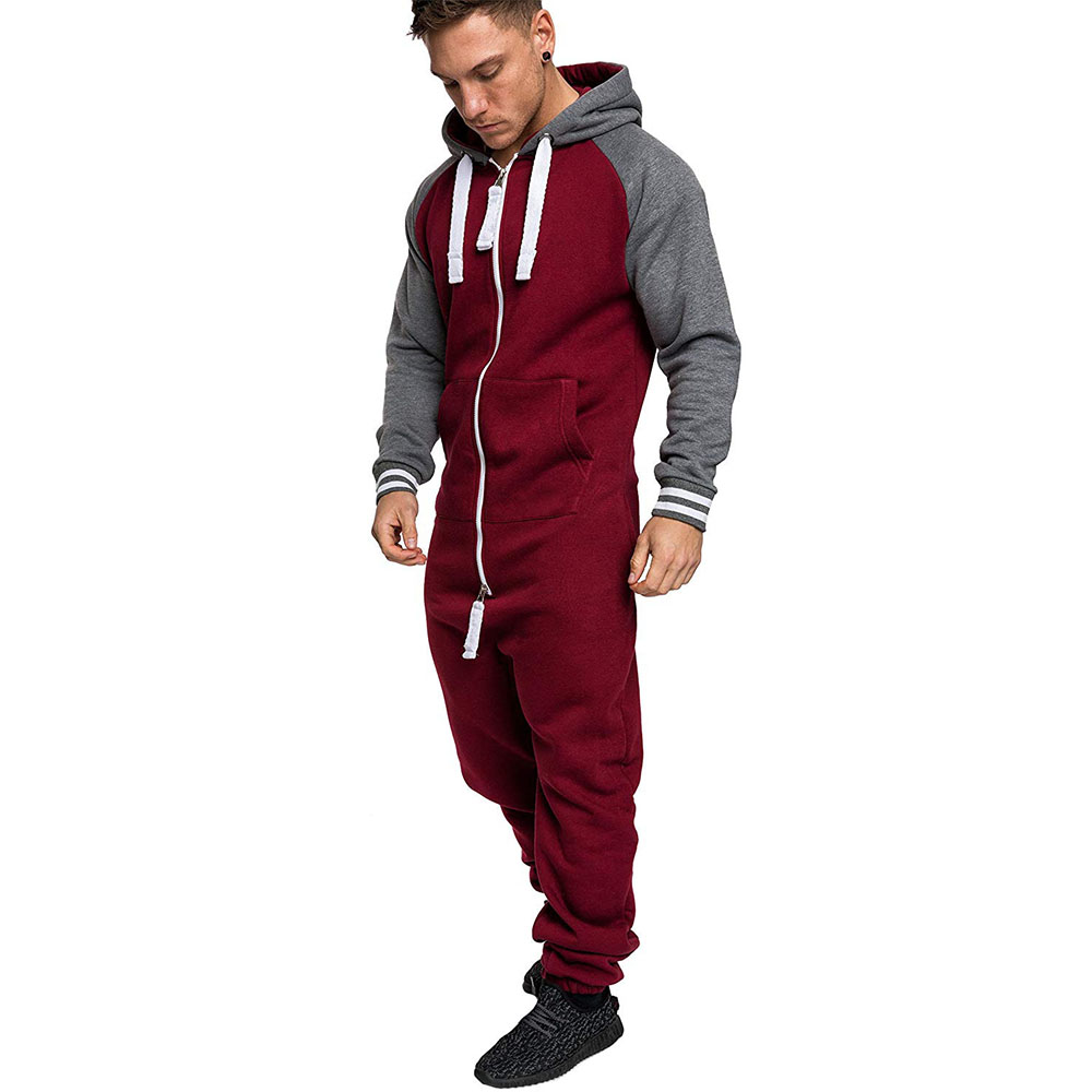 ALL IN ONE Men's Jumpsuit Fleece Nigtwear Pyjama Hoodie Zip Onesie Sleep Lounge Adult Sleepwear One Piece Pyjamas Male Onesies