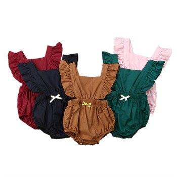 8dd740f5b4 Recién Nacido bebé niña sin mangas con volantes bebé Braga ropa de verano  ropa de bebé 0-24 M Ropa