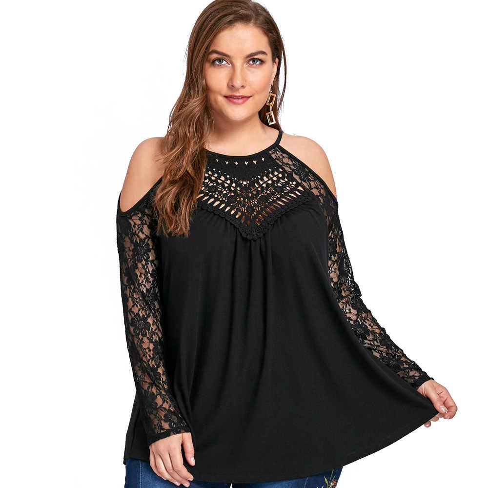 Wipalo плюс Размеры Для женщин блузки 5XL Cold Shoulder Lace Up топы Женская одежда соблазнительный кружевной вязаный прозрачная сетчатая блузка рубашки больших размеров