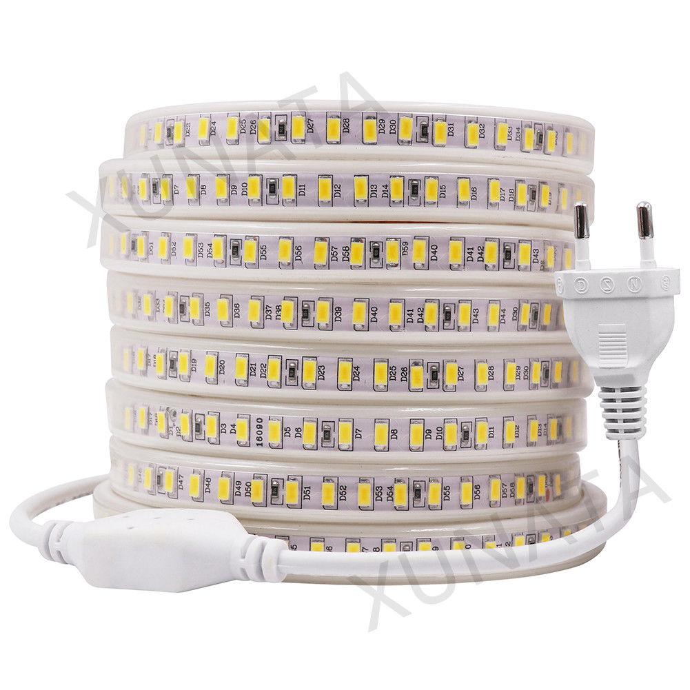 120leds/m 220V 5730 LED Strip Super Bright Waterproof Flexible Led Tape Light Cold/Warm White 1m/2m/3m/4m/5m/10m/20m/50m/100m