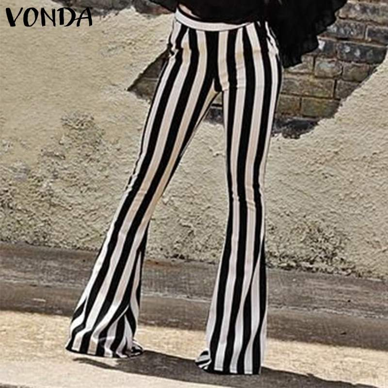 S-5XL Summer 2019 VONDA Women   Pants   Striped Vintage Pantalones Mujer Long Flare Trousers Casual   Wide     leg     pants   Streetwear