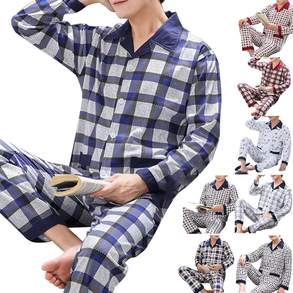 Pajamas-Set Lounge Plus-Size Homewear Long-Sleeve Warm Men V-Neck Print 3XL Plaid Button