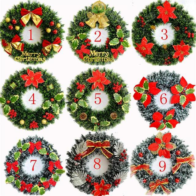 New 40cm Christmas Artificial Wreath Decoration Xmas Ornaments