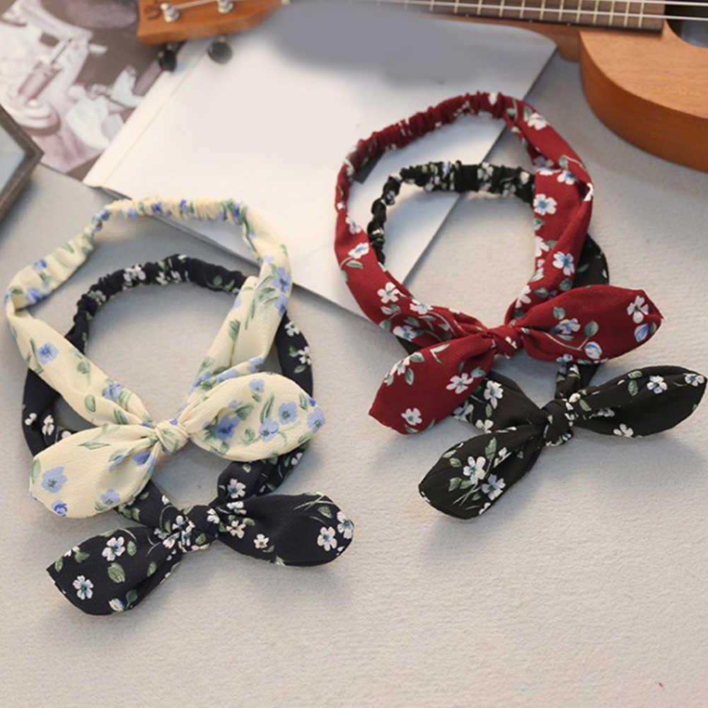 Женская повязка с принтом в виде кроличьих ушек в стиле ретро, эластичная резинка для волос с бантом и железной проволокой, леопардовые Цветочные резинки для волос, аксессуары для волос