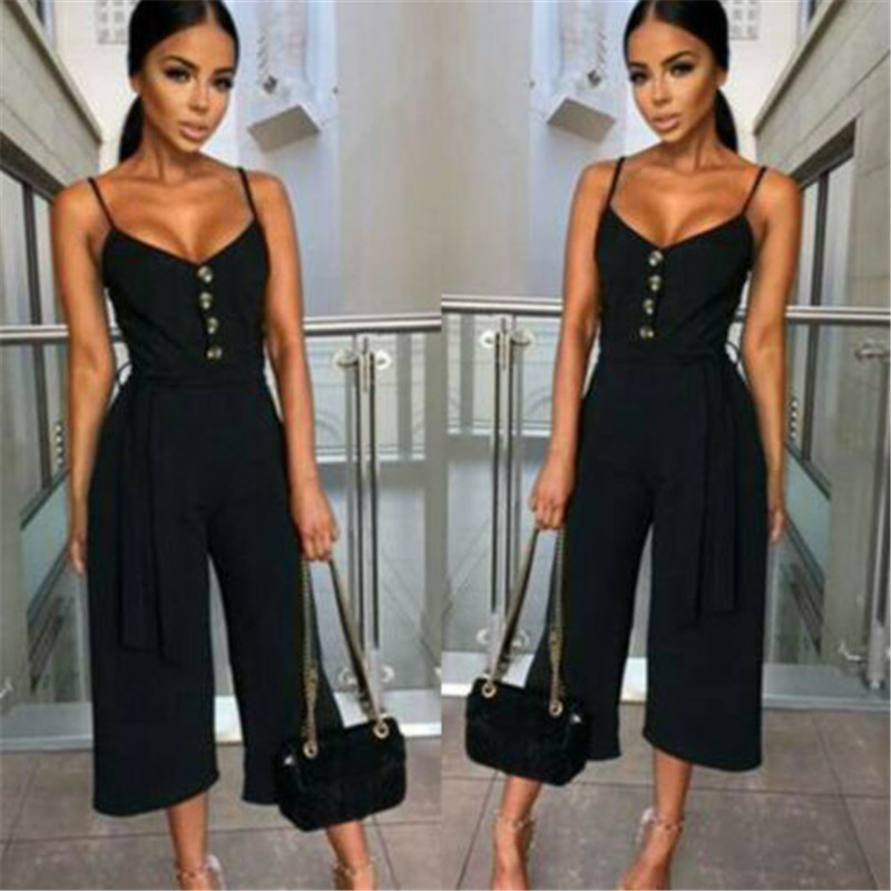 Women's Summer Sexy Sleeveless Sling V-Neck Party Jumpsuit Fashion Fit Solid Color Button Strap Wide Leg Jumpsuit Three colors