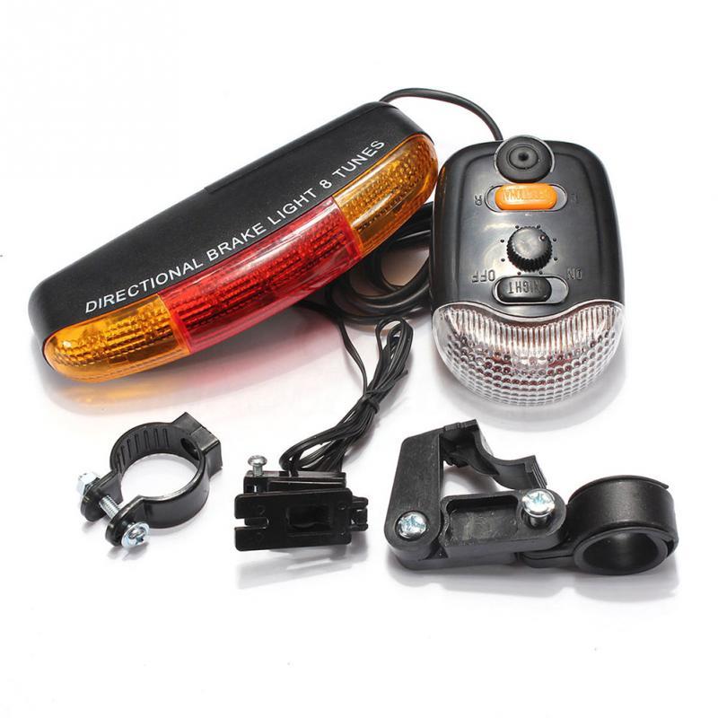 LED Bicycle Bike Light Turn Signal Directional Brake Light Lamp 8 Sound Horn