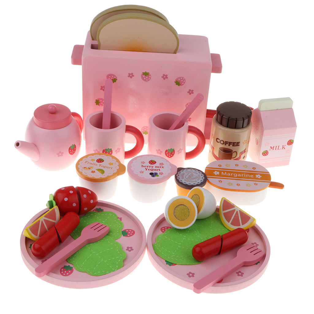 finished by 100% natural hand paint Kid Strawberry Toast Bread Machine Kitchen Food Western Breakfast Wooden Toy