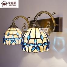 Средиземноморский Led Tiffanylampe, Тиффани Русалка бра Ac 110/220 v E27 Shell бра для дома коридор Спальня